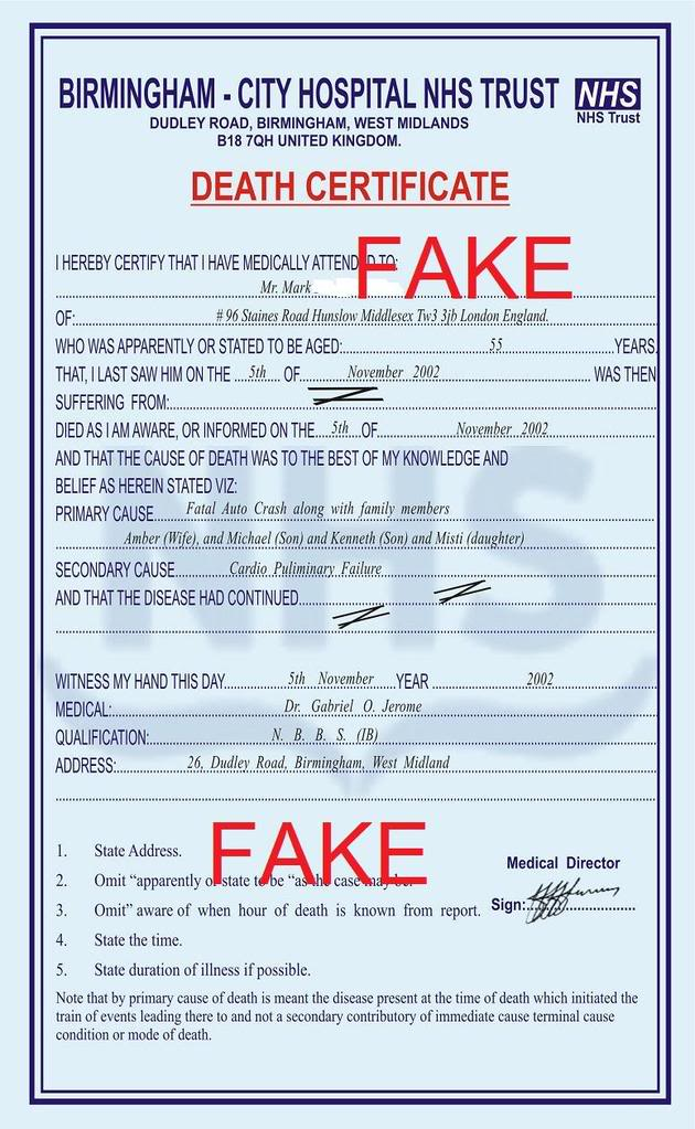 Fake Death certificates